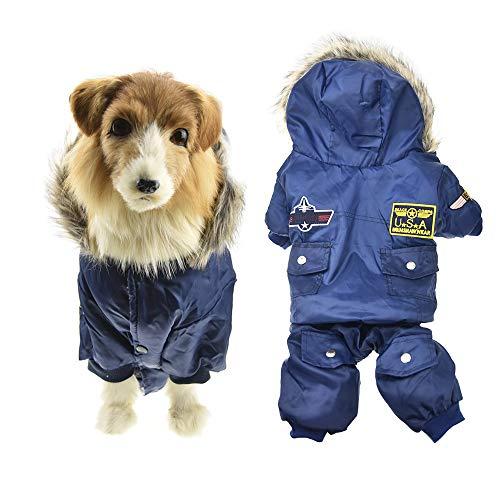FLAdorepet Air Force Kostuum Grote Hond Winter Jas Warm Jas Koud Weer Hond Huisdier Sneeuwpak Hooded Jumpsuit Voor Labrador Golden Retriever Waterdichte Kleding Met Harige Kraag