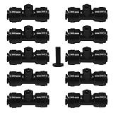 Dreamtop Lot de 101/10,2cm Slip-lok Brumisateur Buse tees avec prise 1pièce pour système de refroidissement 10/24UNC