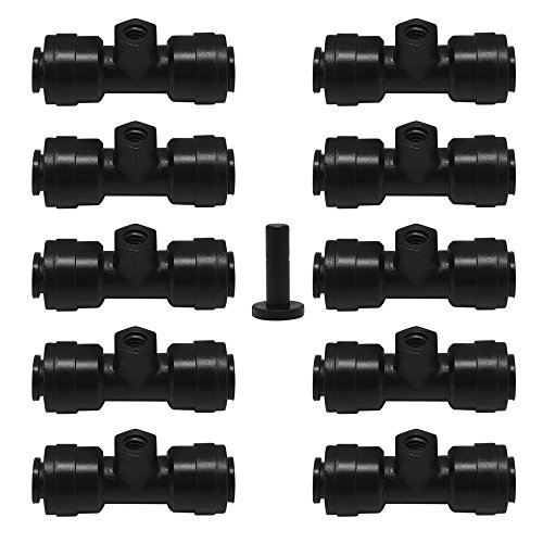Dreamtop 10pcs 1/4 Slip-Lok Misting Nozzle Tees with 1pc Plug for Cooling System 10/24 UNC