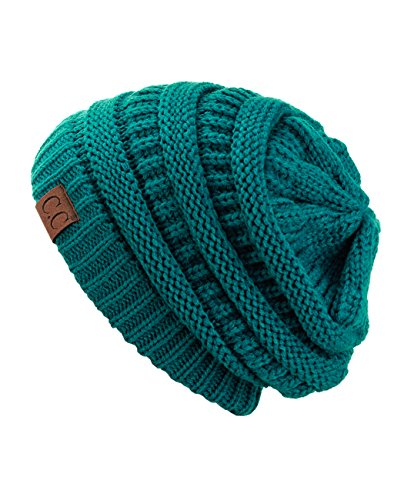 C.C Trendy Warm Chunky Soft Stretch Cable Knit Beanie Skully, Teal