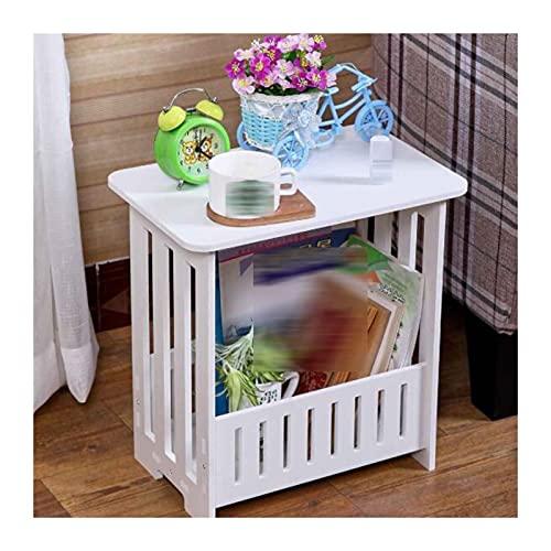 Mesas de café Mesa auxiliar de la consola de la mesa lateral, mesa de acento final con estante de almacenamiento, muebles modernos para sala de estar Dormitorio Balcón Mesa de centro de madera sintéti