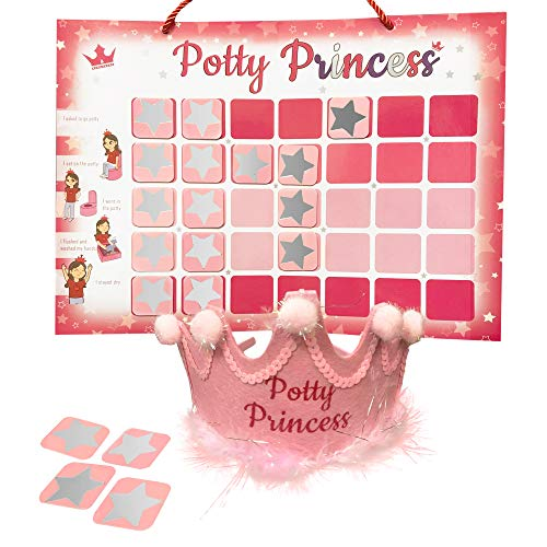 Potty Training Chart for Toddlers - Princess Themed Magnetic Potty Reward Chart with Star Magnets and Crown
