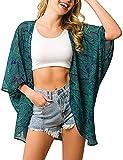 Camisola de Playa para Mujer Cardigan Corto Manga Media Pareos Cubrir Bikini Kimono Estampados de Flor Bikini Cover Up Protector Solar Traje de Baño de Playa para Chica (Flor 9, XL)