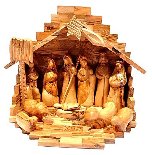 Berceau + crèche de Noël fabriqué en bois d'olivier de Bethléem, Bois dense, Taille M