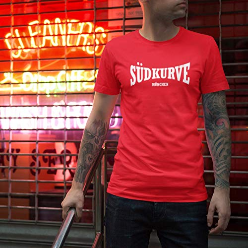 World of Football Herren T-Shirt Rundhals Crewneck Bayern Südkurve München rot rot - M