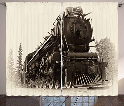 "Ambesonne Steam Engine Curtains, Antique Northern Express Train Canada Railways Photo Freight Machine Print, Living Room Bedroom Window Drapes 2 Panel Set, 108"" X 84"", Black Grey"