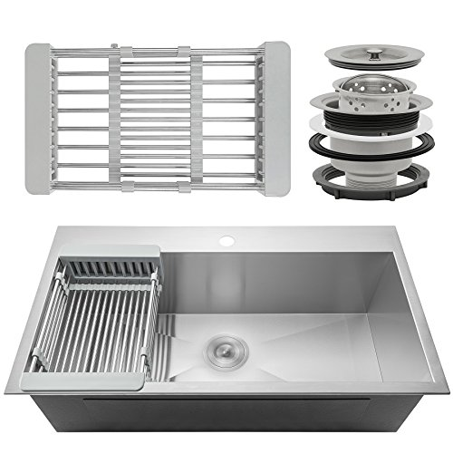 """FireBird Handmade Kitchen Sink 33-inch Top-mount Single Bowl Stainless Steel 33"""" x 22"""" x 9"""" combo with Drying Rack & Sink Drain"""