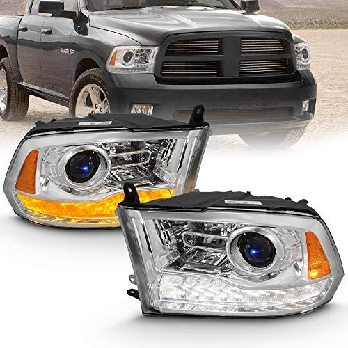 AmeriLite Projector Headlights for 2009-2018 Dodge Ram 1500 2500 3500 w/LED Tube Switchback White & Amber Parking Turn Signal - Passenger and Driver Side