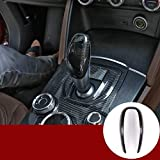 Cubierta para palanca de cambios de coche de fibra de carbono real para Giulia Stelvio 2016-2019 accesorios para coche