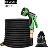 50FT Garden Hose-Heavy Duty Strongest Expandable Magic Water Hose with Double Latex Core, Solid Brass Connector 10 Pattern Spray Nozzle,Black