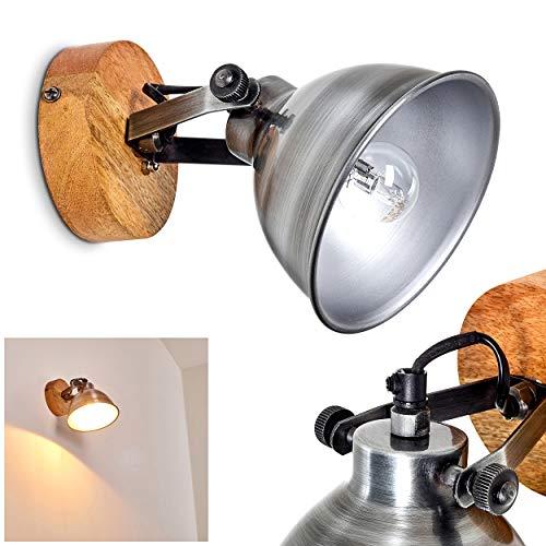 Wandlamp Svanfolk, wandlamp van metaal en hout in zilver/bruin, 1 vlam, met verstelbare schijnwerper, 1 x E14 stopcontact, max. 40 Watt, retro/vintage uitvoering
