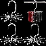 3 Piezas Perchas Giratorias de Corbatas de Acrílico Transparente Soporte de Bufanda de Exhibición Colgadores de Cinturón para Organizador Almacenamiento de Armario
