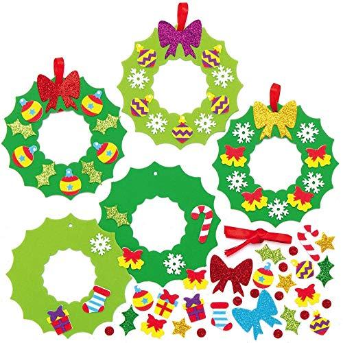 Baker Ross AX504 Weihnachtskränze Bastelset für Kinder - 8 Stück, Festliche Kreativsets und Bastelbedarf zum Basteln und Dekorieren zur Weihnachtszeit