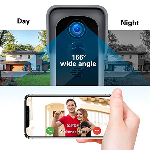 【2020 Upgrade】 WiFi Video Doorbell Camera, 1080P Wireless Home Security Door Bell , 32GB SD Card/Chime, Camera Doorbell Wi-Fi with Motion Detector Waterproof, 2-Way Audio/Night Vision/166° Wide Angle
