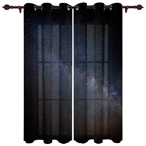 "Fandim Fly Semi Sheer Window Curtains Galaxy Starry Night Nebula Theme Image Window Curtain Grommet Panels for Bedroom & Living Room, 2 Panels, 27.5""x40"""