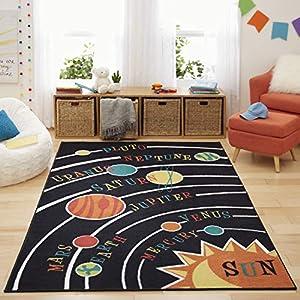 Mohawk Home Aurora Solar System Kids Playroom Educational Area Rug, 5'x8′, Black