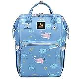 qiqiu Wickeltasche Rucksack Multifunktionale Mumientasche Babytasche Babywindelflasche Aufbewahrungstasche - Hellblauer Elefant Wickelrucksack für Mama