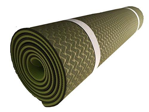 Equilibrium Tappetino da yoga a doppio strato, spessore: 6 mm, con borsa di trasporto oliva