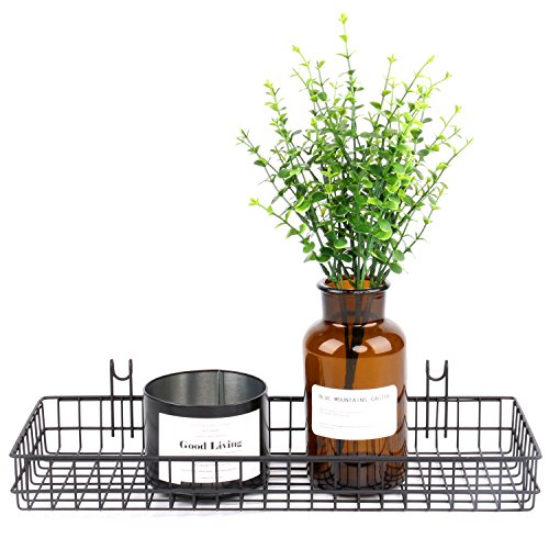 Kleanner Wire Metal Hanging Basket,Coated on Grid Panel for Dispaly Wall Decor, Wall Mount Organizer, Wire Storage Shelf Rack for Home Supplier,Black