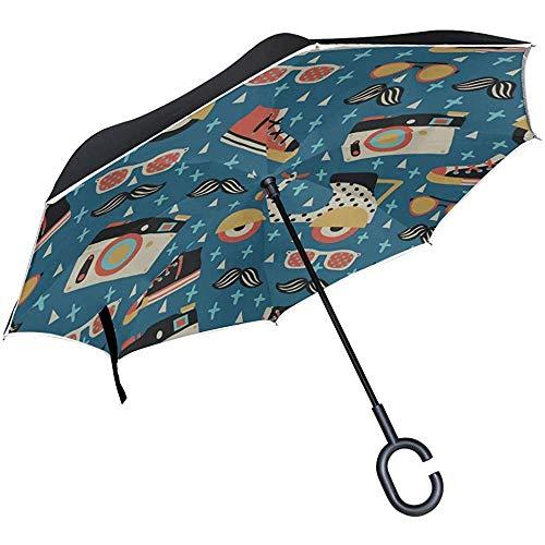 ETGeed Paraguas Plegables invertidos Hermosos Zapatos de Lona Casuales Altos Paraguas inverso Paraguas Plegable Compacto
