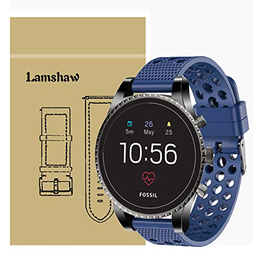 for Fossil Q Explorist HR Band, Lamshaw Silicone Replacement Wristbands Sport Strap with Metal Buckle for Fossil Men's Gen 4 Q Explorist HR/Gen 3 Q Explorist (Blue)