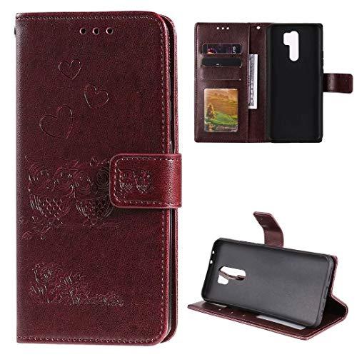 Nadoli Flip Handyhülle für Xiaomi Redmi Note 8 Pro,Schutzhülle Pu Leder Geprägt Blumen Eule Magnetverschluss Wallet Brieftasche Lederhülle mit Standfunktion für Xiaomi Redmi Note 8 Pro
