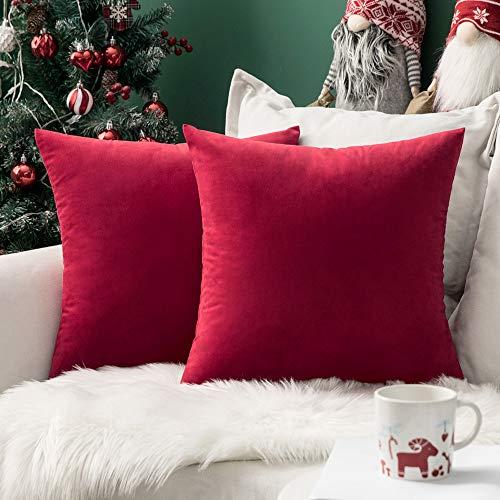 MIULEE Confezione da 2 Federe in Velluto Copricuscini Decorativi Fodere Quadrate per Cuscino per Divano Camera da Letto Casa45X45cm Rosso Brillante