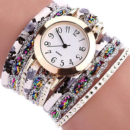 Reloj de cuarzo para mujer de estilo étnico, multicapa, con cristales de imitación, números árabes