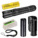 Nitecore NEW P12 1200 Lumens high Intensity CREE LED Long duration Tactical Flashlight with EdisonBright BBX5 battery carrying case