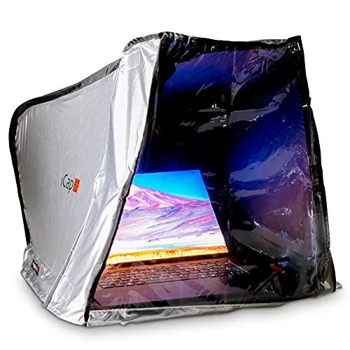 """iCap® MAX PRO Notebookzelt. Outdoor Protektor gegen Sonnenlicht, Verblendung, Regen, Staub Hitze, Kälte. Für MacBook, Notebook, Laptop, iPad. Inkl. Front Cover. Größe MAX für 17"""" bis 19"""""""