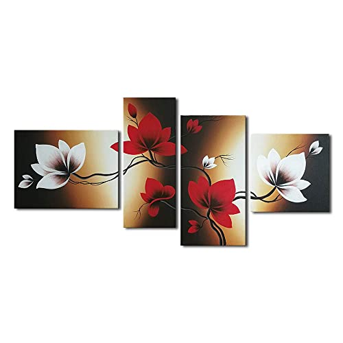 Wieco Art Full Bloom in Spring Red Flowers Modern 100% Hand Painted 4 Panels Floral Oil Paintings on Stretched and Framed Canvas Wall Art Home Decorations for Living Room Bedroom