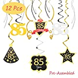 85 Birthday Decoration Happy 85th Birthday Party Silver Black Gold Foil Hanging Swirl Streamers I'm Eighty-five Years Old Today Birthday Hat Gold Star Ornament Party Present Supplies