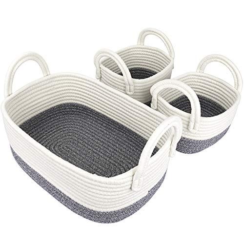 La Jolíe Muse Cesta almacenaje de Cuerda de algodón con Mangos, Juego de Cajas de almacenaje, Cesta Toallas baño, cestas organizadoras baño, Blanco y Gris, Set 3