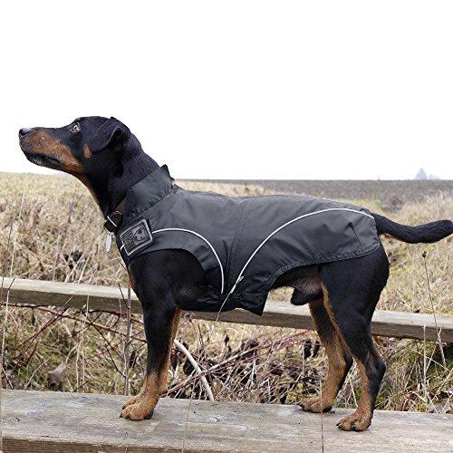 DOGBITE Regenjacke FLEXIBLE SYSTEM Schwarz Mantel für Hunde 25cm