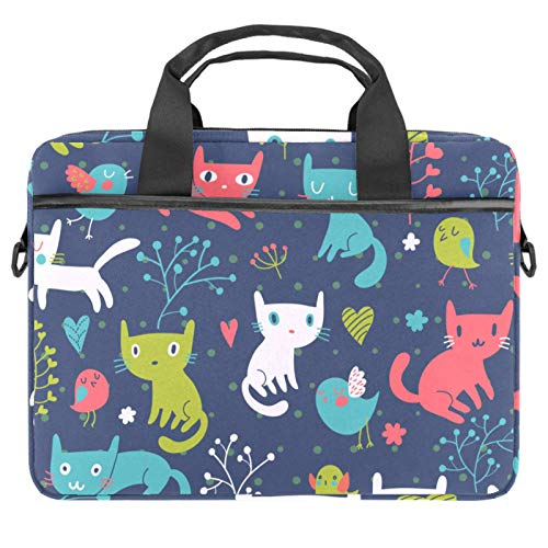 13-14.5 Inch Laptop Sleeve Case Colorful Cats and Birds Protective Cover Bag Portable Computer Notebook Carrying Case Briefcase Message Bag