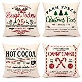 4TH Emotion Farmhouse Christmas Pillow Covers 18x18 Set of 4 Winter Holiday Decorations Xmas Rustic Throw Cushion Case for Sofa Couch Home Decor (Sleigh Rides, Farm Fresh Tree, Cocoa, Candy Canes)