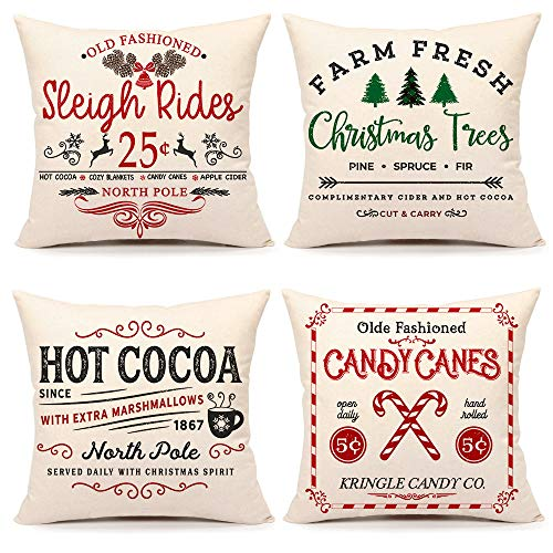 4TH Emotion Farmhouse Christmas Pillow Covers 16x16 Set of 4 Winter Holiday Decorations Xmas Rustic Throw Cushion Case for Sofa Couch Home Decor (Sleigh Rides, Farm Fresh Tree, Cocoa, Candy Canes)
