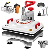 VIVOHOME Upgraded 5 in 1 Combo Multifunctional Swing Away Clamshell Printing Sublimation Heat Press Transfer Machine for T-Shirt Hat Cap Mug Plate 15 x 12 Inch White