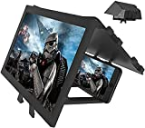 12' Screen Magnifier for Cell Phone, 3D HD Amplifier Projector Screen Enlarger for Movie, Video, Gaming, Full Coverage Foldable Phone Stand with Screen Amplifier, Compatible All Smartphones
