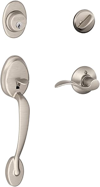 Schlage Plymouth Single Cylinder Handleset And Accent Lever Satin Nickel F60 V PLY 619 ACC