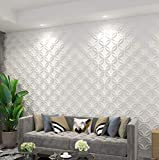 Art3d PVC 3D Wall Panel Interlocked Circles in in Matt White Cover 32 Sq.ft, for Interior Ceiling and Wall Décor for Residential or Commerical