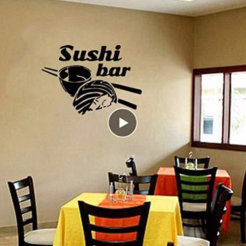 Wandaufkleber,Restaurant Sushi Essen Essstäbchen Reis Wandfenster Poster Sushi Bar Dekoration Vinyl Wandkunst 57 * 40Cm