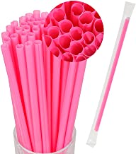 Okdeals 100pcs Heart Shaped Pink Straws Disposable Drinking Straws Plastic Portable Drinking Straw Individually Wrapped St...