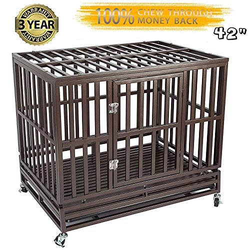 Gelinzon Heavy Duty Dog Cage Crate Kennel Playpen Large Strong Metal for Large Dogs and Pets, Easy to Assemble with Patent Lock and Four Lockable Wheels, 42'' Basic Crates