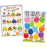 preschool birthday chart - Whaline 2 Pack Classroom Birthday Chart Happy Birthday Balloon Cupcake Bulletin Board Birthday Calendar Poster Chart with Glue Point for School Classroom Birthday Party Decor, 12.4 x 17.5 Inch