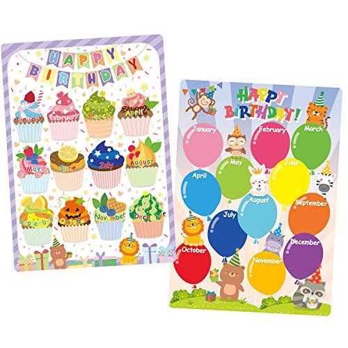 Whaline 2er-Pack Klassenzimmer Geburtstagskarte Happy Birthday Ballon Cupcake Pinnwand Geburtstagskalender Poster Chart mit Klebepunkt für Schule Klassenzimmer Geburtstag Party Dekor, 31,8 x 44,5 cm