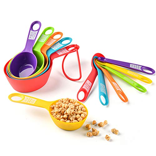 Measuring Spoons,12 Piece Plastic Measuring Cup and Spoon set,Measuring Cups Stackable for Measuring Dry and Liquid Ingredients for Baking and Cooking (Colorful)