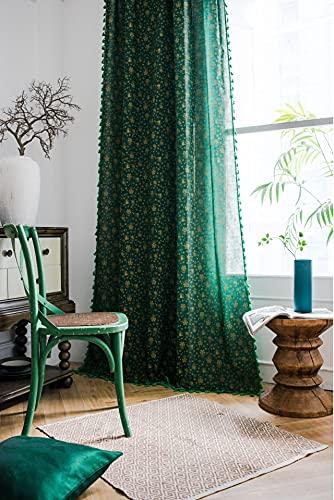 1 pezzo verde campanelli eolici tende per finestra semi-oscuranti per soggiorno camera da letto, stile asta di usura 59 'W x 70,8' L (150x180 cm)