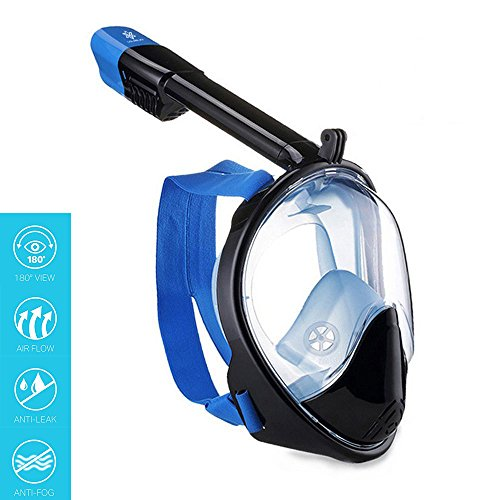 Vilisun Duikmasker voor volwassenen, 181° volgelaatsmasker voor GoPro-camera, anti-condens-snorkelmasker, duikbril voor volwassenen, dames en heren