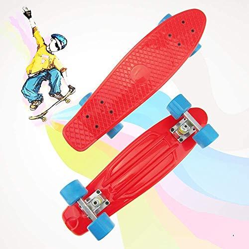 LBWNB Mini Cruiser Skateboard, 55,9 cm de style rétro en plastique avec roues LED colorées pour...